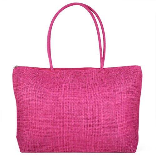 Gleader Feminin Paille Tricot Plage Sac a Main d'Ete Shopping Voyage Zippe Sac -rose rouge