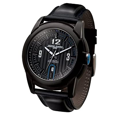 Jorg Gray 9400 Mens Date Watch - Black Steel Case - Leather Strap - Blue Accent