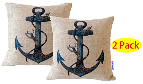 """HOSL [2 pack] Cotton Linen Square Throw Pillow Case Decorative Cushion Cover Pillowcase for Sofa Blue Rusty Anchor with Coral 17.3 """"X17.3 """"(No Pillow)"""