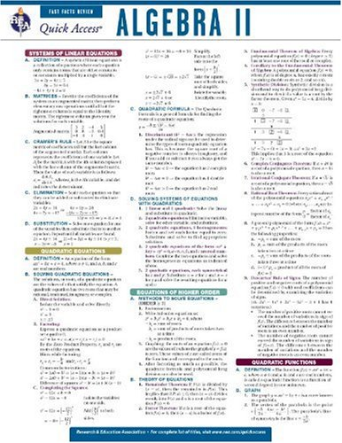 Algebra 2 - REA's Quick Access Reference Chart