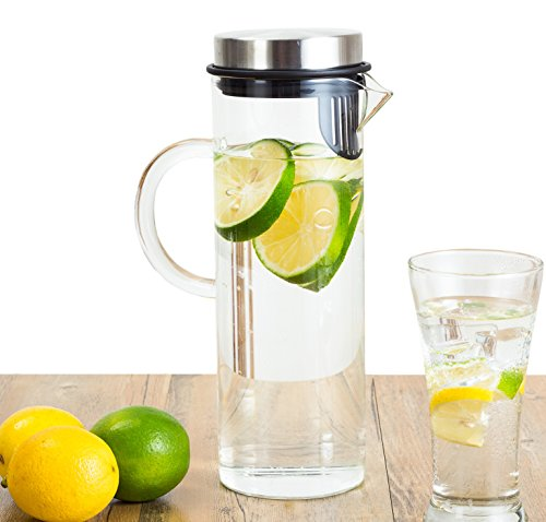 Perlli Fruit Infusion Glass Pitcher - Quality Borosilicate Glass - Stainless Steel Lid - Includes Fruit Infuser removable insert - 1300ml/44oz Water Pitcher (Kool Aid Man Pitcher compare prices)