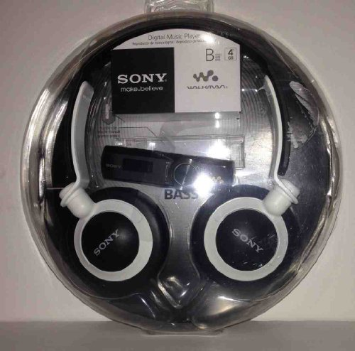 Sony Nwz-B173F Flash 4Gb Mp3 Player Black + Mdr-Xb200 Headphone