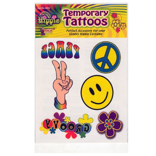Add some old-fashion love to your Hippie Costumes with these Hippie Temporary Tattoo's. They feature bright colors and familiar hippie symbols such as Peace