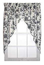 Winston FloralPrint Swags / Jabot Curtains Pair 68-Inch-by-36-Inch, Navy