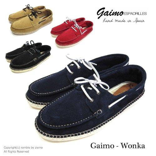 【GAIMO ガイモ】 エスパドリーユ デッキシューズ モカシン (WONKA) ブラック (NEGRO) 41