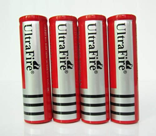On The Way® 4Pcs Flashlight Torch Electronic Cigarette 3.7V 4000Mah 18650 Li-Ion Protected Rechargeable Battery