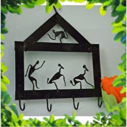 Chinhhari Arts Tribal Wrought Iron Key Chain Holder ( Black, 25.4 cm x 20.32 cm )