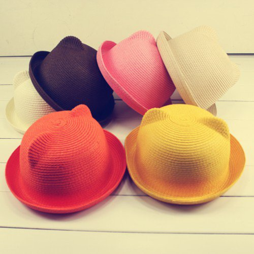 Be-Colorful-Adult-Womens-Unique-Cute-Cat-Ears-Straw-White-Hat-Cap-Derby-Bowler