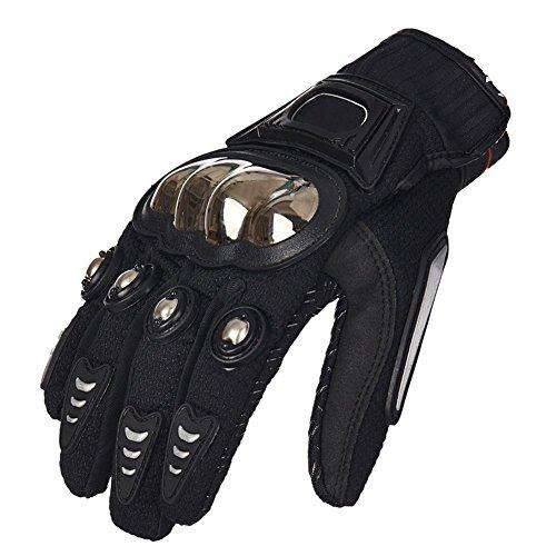 S-Raw Metal Protective Motorcycle Gloves Full Finger Gloves Summer Motorbike Gloves, Black Large