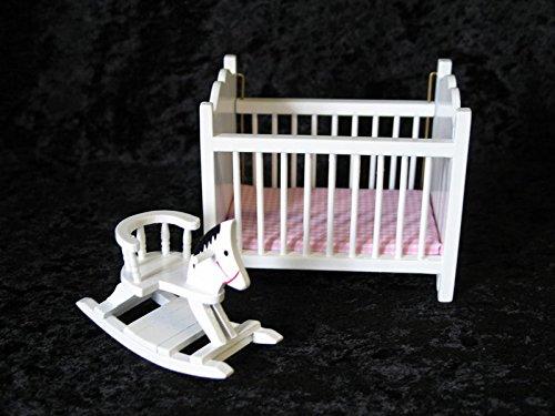 Puppenbett u. Schaukelpferd weiss Puppenhausmöbel