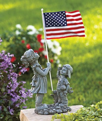 Patriotic 4th of July Kids with American Flag Ceramic Statue Garden Yard Art 20″ X 10″ X 5-3/8″