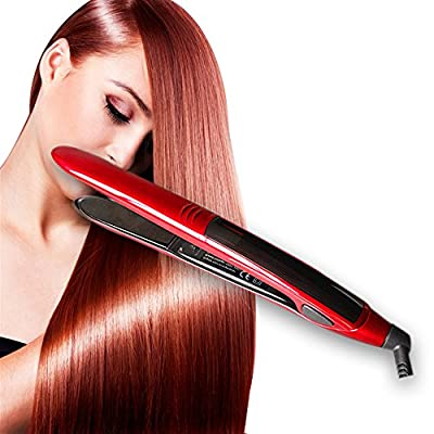 Topstone® Professional Titanium Flat Iron Digital Hair Straightener with a Bonus Travel Pouch ,Red Color