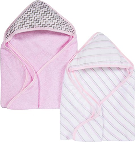 Miracle Blanket MiracleWare Muslin Hooded Towel, Pink, 2 Pack - 1