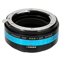 Fotodiox Pro Lens Mount Adapter with Aperture Dial (De-Clicked), Nikon G and DX type Lens to Sony E-Mount NEX Camera, Nikon G - NEX Pro Camera Adapter, fits Sony NEX-3, NEX-5, NEX-5N, NEX-7, NEX-7N, NEX-C3, NEX-F3, Sony Camcorder NEX-VG10, VG20, FS-100, FS-700