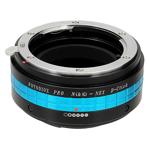 Fotodiox Pro Lens Mount Adapter with Aperture Dial (De-Clicked), Nikon G and DX type Lens to Sony E-Mount NEX Camera, Nikon G – NEX Pro Camera Adapter, fits Sony NEX-3, NEX-5, NEX-5N, NEX-7, NEX-7N, NEX-C3, NEX-F3, Sony Camcorder NEX-VG10, VG20, FS-100, FS-700