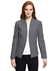 M&S Collection Open Front Textured Jacquard Jacket