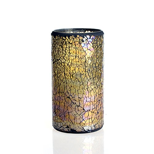 Dfl 3*6 Inch Lightyellow Crack Pattern Mosaic Glass With Flameless Led Candle With Timer,Work With 2 C Battery
