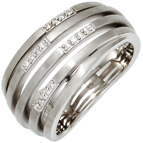 Women's Ring with 16 Diamonds Diamonds Matte 925 Silver Women