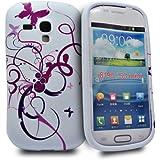 Accessory Master Etui en silicone pour Samsung Galaxy S III Mini I8190 Motif Papillon fleur Violet