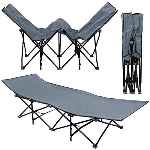 AMANKA-Faltlbett-Faltliege-Feldbett-Grau-Camping-Metall-Klappiege-ca-190x70cm-10-Bein-Liege-Klappbett-Stahlgestell
