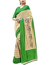 Applecreation Beige & Green Silk Printed Saree