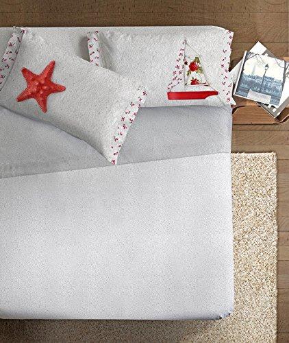 Ipersan Sole-Mare Completo Fotografico Fine-Art, 100% Cotone, Grigio/Corallo, Matrimoniale, 260x300x1 cm