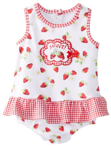 Vitamins Baby Baby-Girls Newborn Sweet Strawberry Sunsuit, White, 3 Months back-836022