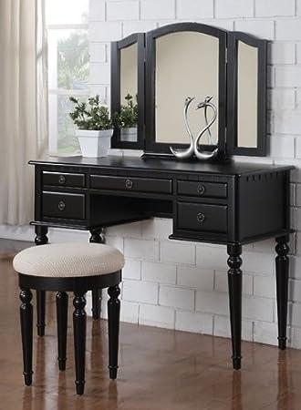 Elegant 3pcs Black Finish Wood Vanity Set #Pd41072