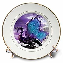 3dRose cp_4144_1 Fairytale Dragon Porcelain Plate, 8-Inch
