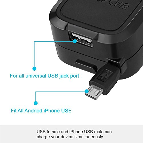 Car Charger, Mosche Retractable Micro USB Cable Car Charger Charges Quickly in the Car with 5.6A USB for Samsung Galaxy S6/ S6 Edge (Black).
