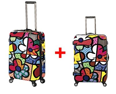 Heys USA - 2pcs. - SET 50 GBP Discount - Britto Flowers, High-quality designer artist luggage set - 66 cm and 76 cm 4-wheels Trolley by Heys USA