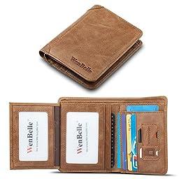 Men\'s Wallet,WenBelle [Classics Series] GENUINE LEATHER Vintage Natural Skin Coin Money Pocket Purse Retro Style Luxury Slim High-capacity (Khaki )