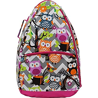 Grey & White Chevron with Owl Print Tennis Racquet Holder Backpack