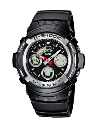 Casio G-Shock AW-590-1AER Analog and Digital Quartz Multifunction Sports Watch with Steel Bezel, Stopwatch, Timer, Alarm, Time Zones and Black Rubber Strap
