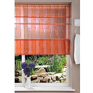 Fabric Roman Shade Window Blind - Cord- Stripe Orange/Pink - 120x160cm