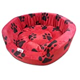 Super Dog Dog Bed Smart And Cozy In Red Color With Black Paws Design For Puppy And Small Size Dog (Small)