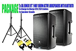 """PACKAGE! 2 x JBL EON610 10"""" 2-WAY 1000W ACTIVE LOUDSPEAKERS WITH BLUETOOTH + 2x SPEAKER STANDS +2x XLARGE TO XLARGE XTX 25FT CABLES by JBL"""