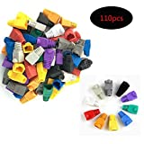 SpeedDa 110 Pcs Mixed Color CAT5E CAT6 RJ45 Soft Plastic Ethernet RJ45 Strain Relief Boots Cable Connector Boots Cover