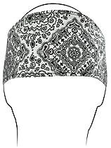 100% Cotton White Paisley Headband - One Size