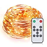 SENQIAO 4 Modes 33ft/100LEDs Remote Controlled Led String Starry Lights, Worm White Waterproof Flexible Copper String Lights With UL Certified Adapter for Garden, Patio, Tree, Party, Christmas