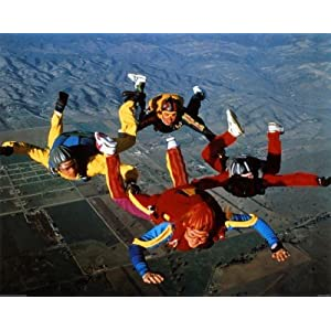Sky Diving Free Fall Formation Poster Print Worrywart