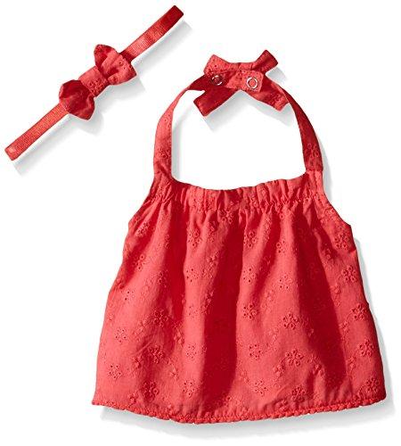 Rosie Pope Baby Girls Allover Embroidered Crop Halter Top with Headband