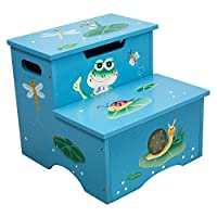 Fantasy Fields - Froggy Thematic Kids Wooden Step Stool with Storage | Imagination Inspiring Hand Crafted & Hand Painted Details | Non-Toxic, Lead Free Water-based Paint by Teamson
