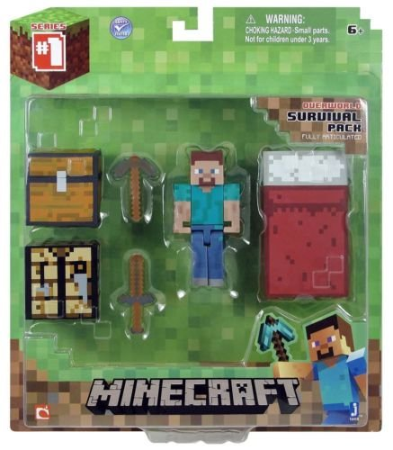 Minecraft Series 1 Core Player Survival Pack Figure Action Steve Overworld (Cool Minecraft Stuff compare prices)