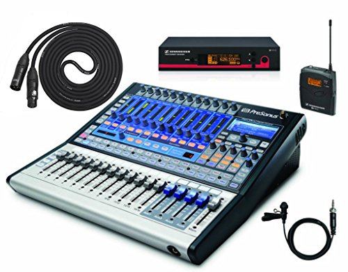 Presonus Studiolive 16.0.2 (Iphone Controlled) Performance & Recording Digital Mixer With Sennheiser Ew112 G3 Evolution Wireless Lavalier Mic System & 10Ft High Quality Xlr Microphone Cable