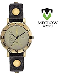 Latest Fashion Black Leather Belt Watch, Round Copper Dial Analog Watch For Girls, Ladies And Womens Paris Love...