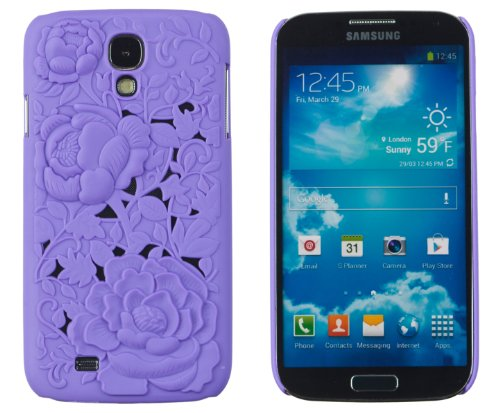 Rose Flower 3D Design Slim Fit Hard Case For Samsung Galaxy S4 (S Iv, I9500) [Retail Packaging By Dandycase With Free Keychain Lcd Screen Cleaner (Purple)