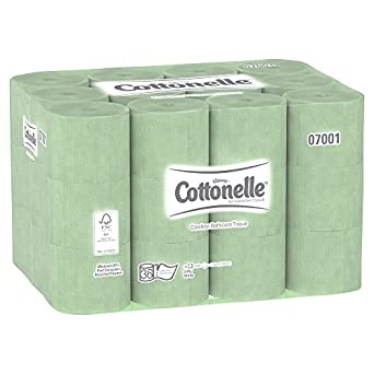 "Kleenex Cottonelle Coreless Toilet Paper Standard Roll (07001) 2-Ply, White, 4.0"" Width x 3.94"" Length Roll,(Case of 36, 800 sheets per Roll)"