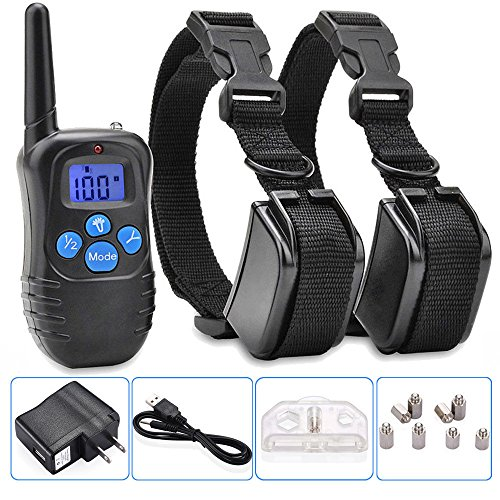 Electric Vibra Remote 2dog Shock Pet Training Collar Waterproof Rechargeable Lcd Lcd Bark Yards Safe Standby And Memory Function Low Light Conditions Brand New