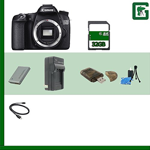 Canon Eos 70D Dslr Camera (Body Only) 8469B002 + 32Gb Sdhc Class 10 Memory Card + Extra Lp-E6 Battery + Deluxe Soft Large Camera And Video Case Bag + Compact Ac/Dc Charger For Lp-E6 Battery + Hdmi Cable + Memory Wallet + Table Top Tripod, Lens Cleaning Ki